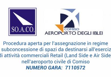 Bando di gara per l'assegnazione in regime di subconcessione di spazi per esercizio di attività commerciali Retail nell'aeroporto civile di Comiso