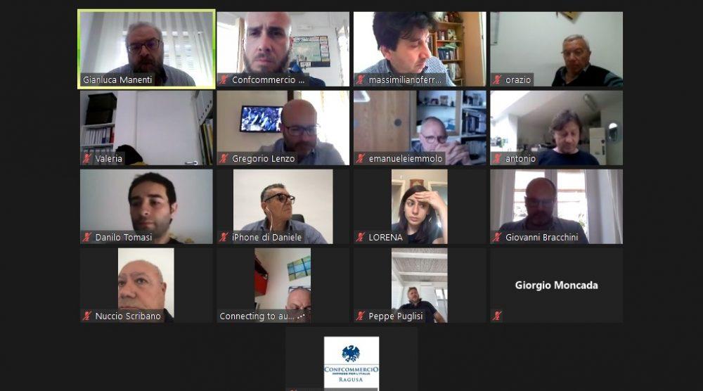 I dirigenti di Confcommercio Ragusa in conference call
