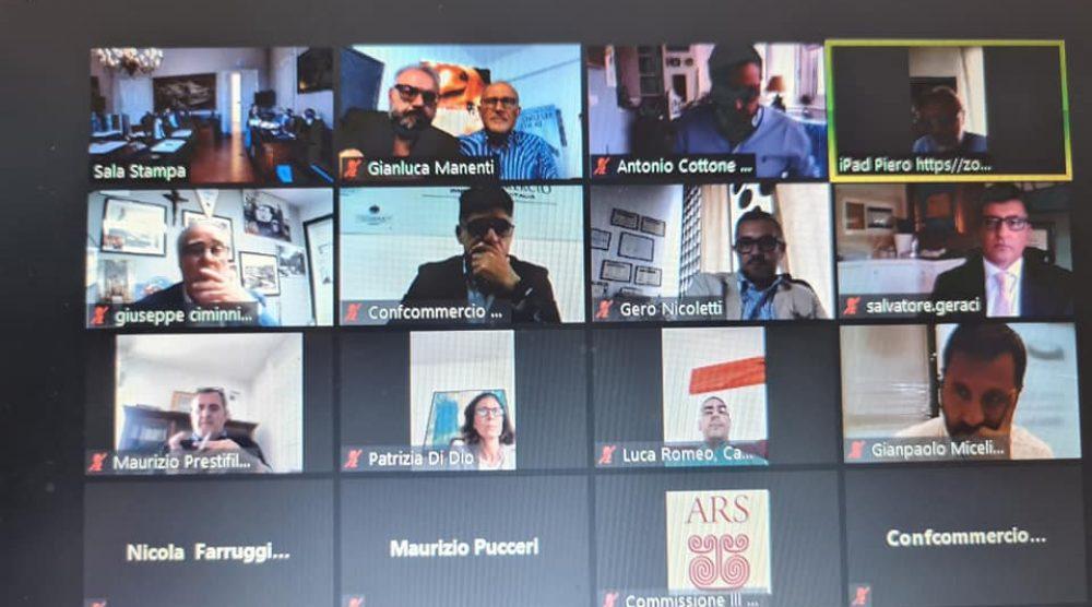 La videoconferenza della terza commissione Attività produttive all'Ars